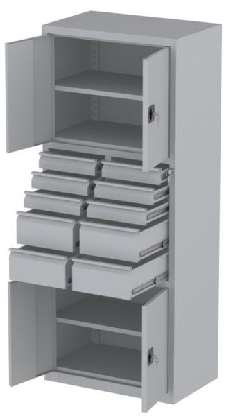 Werkstattschrank - 4 Fächer und 6 + 4 Schubladen - 1950x1000x500 mm (HxBxT)