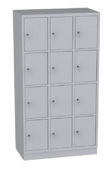 Schließfachschrank - 3 Abteile - 12 Fächer - 1950x1050x480 mm (HxBxT)