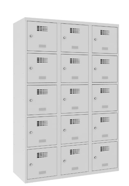 Schließfachschrank - 3 Abteile - 15 Fächer - 1800x1200x500 mm (HxBxT)
