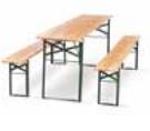 Klappbarer Tisch - Holz/ Moosgrün (RAL 6005) - 780x2200x600 mm mm (HxBxT)