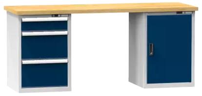 Arbeitstisch KOMBI 800 - 1 + 2 Schubladen, 1 Tür, 2 Fachböden