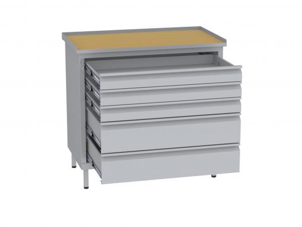 Werkstattschrank, niedrig - 2 + 3 Schubladen - 850x900x505 mm (HxBxT)