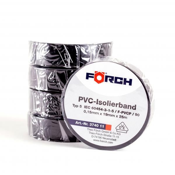 FÖRCH 5er Set Isolierbänder PVC Klebeband Elektroniker 0,15mm x 19mm x 25m - schwarz