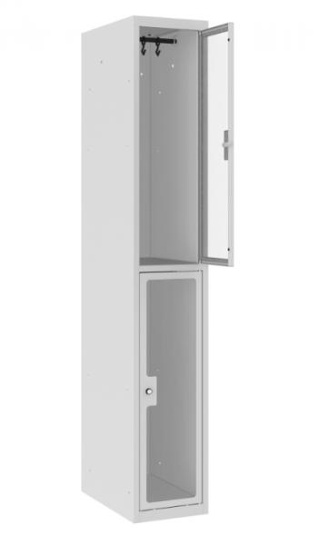 Garderobenschrank - 1 Abteil - 2 Fächer - Plexiglas Tür - 1800x300x500 mm (HxBxT)
