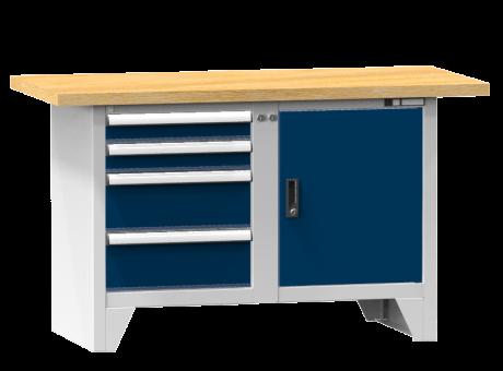 Modulare Werkbank PS1-2/2M - 2 + 2 Schubladen, 1 Tür, 1 Fachboden