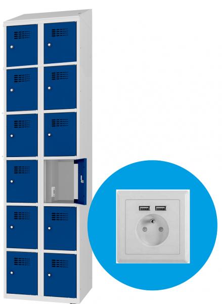 Schließfachschrank - 2 Abteile - 12 Fächer - mit Steckdose/USB - 1800x800x500 mm (HxBxT)