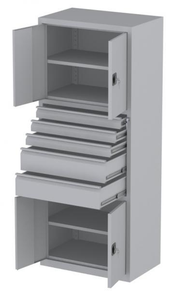 Werkstattschrank - 4 Fächer und 2 + 3 Schubladen - 1950x1000x500 mm (HxBxT)