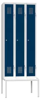 Spind - 3 Abteile - mit Bank - 2080x900x500 mm (HxBxT)