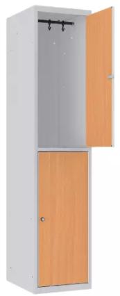 Garderobenschrank - 1 Abteil - 2 Fächer - MDF Tür - 1800x400x500 mm (HxBxT)