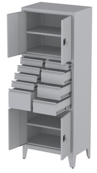 Werkstattschrank - 4 Fächer und 3 + 5 + 1 Schubladen - 1950x1000x500 mm (HxBxT)