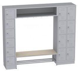 offene Garderobe mit Sitzbank - 14 Fächer - 1950x2294x480 mm (BxHxT)