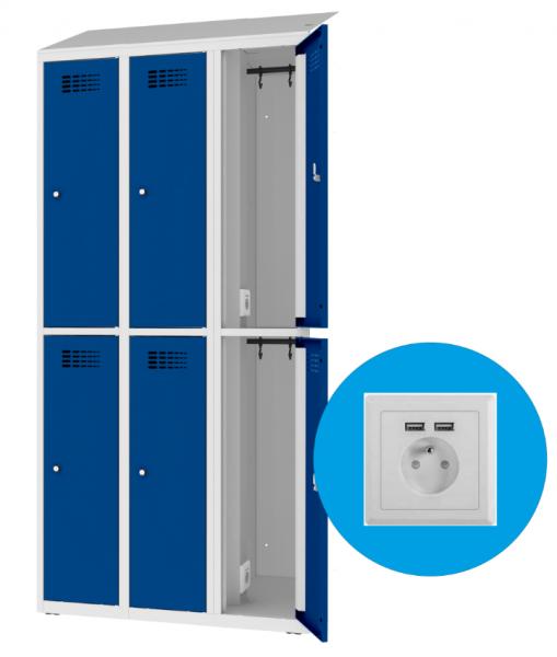 Garderobenschrank - 3 Abteile - 6 Fächer - mit Steckdose/USB - 1800x900x500 mm (HxBxT)