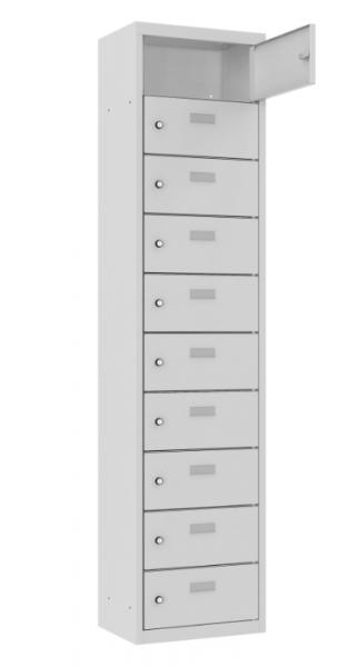 Schließfach/Kantinenschrank - 1 Abteil - 10 Fächer - stehend - 1800x425x300 mm (HxBxT)