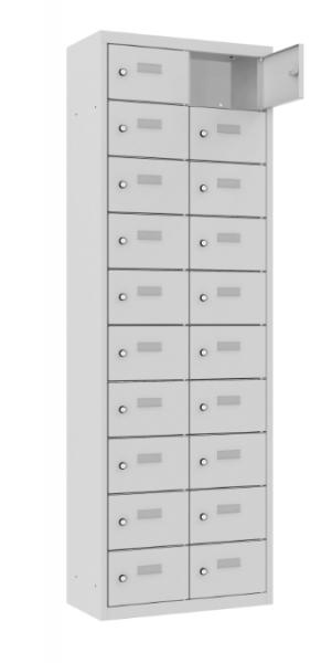 Schließfach/Kantinenschrank - 2 Abteile - 20 Fächer - stehend - 1800x600x500 mm (HxBxT)