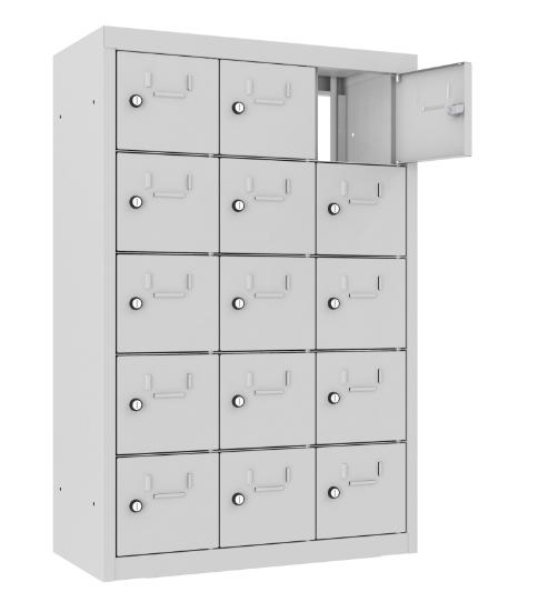 Schließfach/Kantinenschrank - 3 Abteile - 15 Fächer - mit Durchgang - 940x620x300 mm (HxBxT)