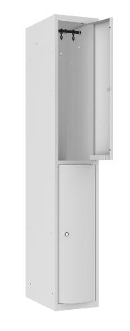 Garderobenschrank - 1 Abteil - 2 Fächer - mit abgerundeter Tür - 1800x300x500 mm (HxBxT)