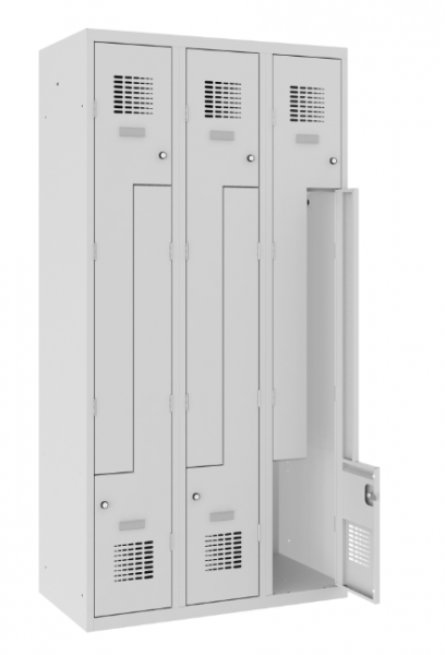 Z-Spind, Garderobenschrank - 3 Abteile - 6 Fächer - 1800x900x500 mm (HxBxT)