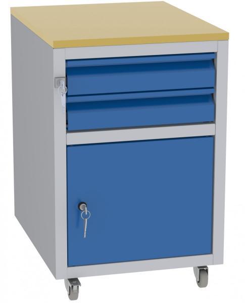 Werkstatttisch, Rollcontainer - 1 Fach + 2 Schubladen - 675x450x555 mm (HxBxT) - Typ C