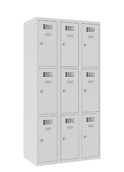 Schließfachschrank - 3 Abteile - 9 Fächer - 1800x900x500 mm (HxBxT)