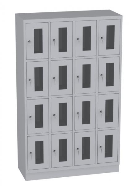 Schließfachschrank mit Plexiglas - 4 Abteile - 16 Fächer - 1950x1190x480 mm (HxBxT)