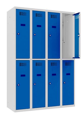 Garderobenschrank - 4 Abteile - 8 Fächer - for young people - 1450x1200x500 mm (HxBxT)