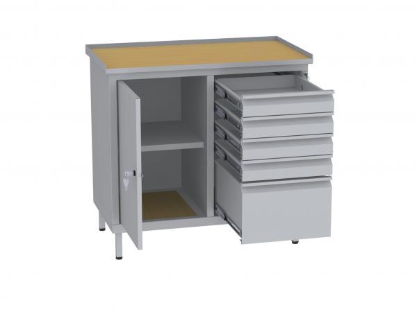 Werkstattschrank, niedrig - 2 Fächer und 1 + 4 Schubladen - 850x900x505 mm (HxBxT)