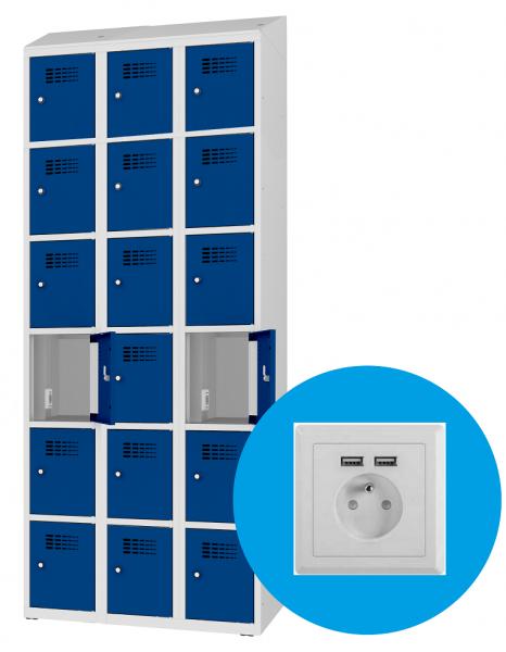 Schließfachschrank - 3 Abteile - 18 Fächer - mit Steckdose/USB - 1800x1200x500 mm (HxBxT)