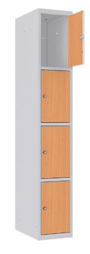 Schließfachschrank - 1 Abteil - 4 Fächer - MDF Tür - 1800x300x500 mm (HxBxT)