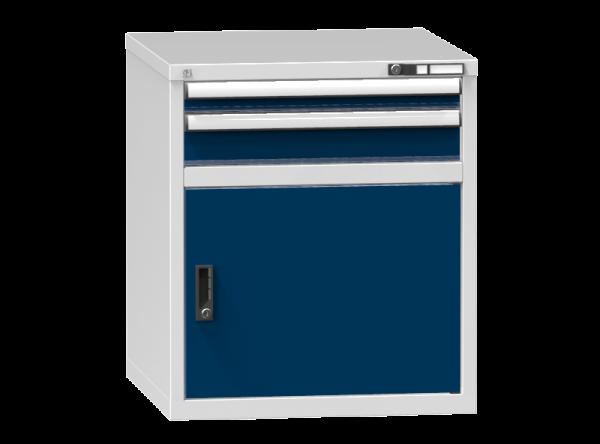 Schubladenschrank - Standcontainer - 1+1 Schublade, 1x Tür 550 mm - 840x731x753 mm (HxBxT)