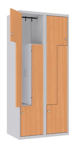 Z-Spind, Garderobenschrank - 2 Abteile - 4 Fächer - MDF Tür - 1800x800x500 mm (HxBxT)