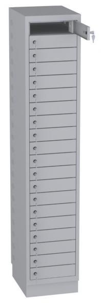 Schrank für Laptops, Akkuladeschrank - 20 Fächer mit Steckdosen - 2080x400x500 mm (HxBxT)