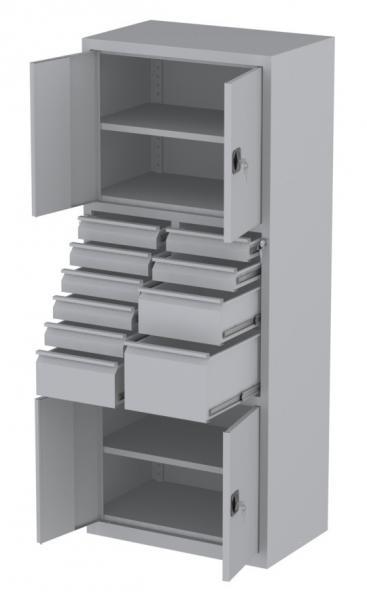 Werkstattschrank - 4 Fächer und 1 + 2 + 7 Schubladen - 1950x1000x500 mm (HxBxT)