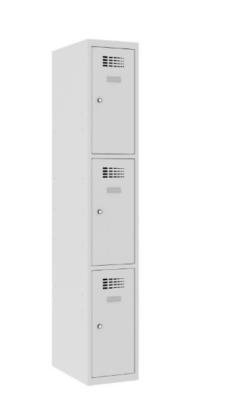 Schließfachschrank - 1 Abteil - 3 Fächer - 1800x300x500 mm (HxBxT)