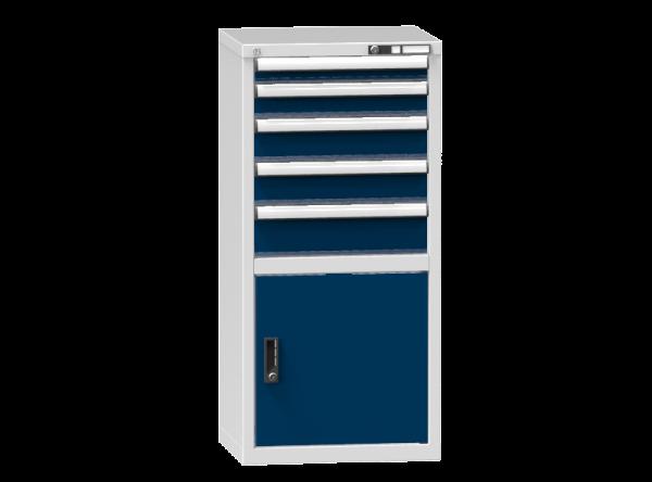 Schubladenschrank - Standcontainer - 1+1+2+1 Schublade, 1x Tür 550mm - 1215x578x464 mm (HxBxT)