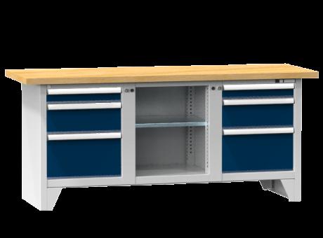 Modulare Werkbank PS2-1/1M - 2 + 2 + 2 Schubladen, 1 Fachboden