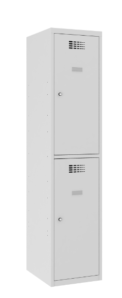 Garderobenschrank - 1 Abteil - 2 Fächer - 1800x400x500 mm (HxBxT)