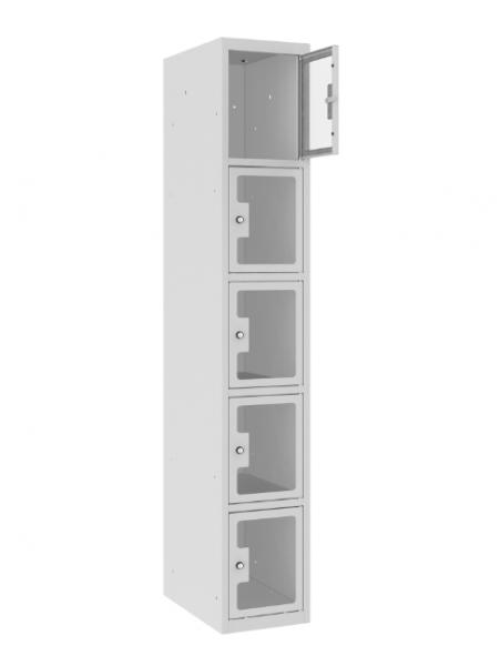 Schließfachschrank - 1 Abteil - 5 Fächer - Plexiglas Tür - 1800x300x500 mm (HxBxT)