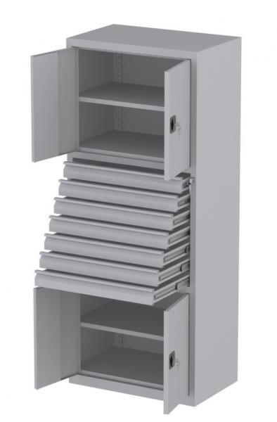 Werkstattschrank - 4 Fächer und 7 Schubladen - 1950x1000x500 mm (HxBxT)