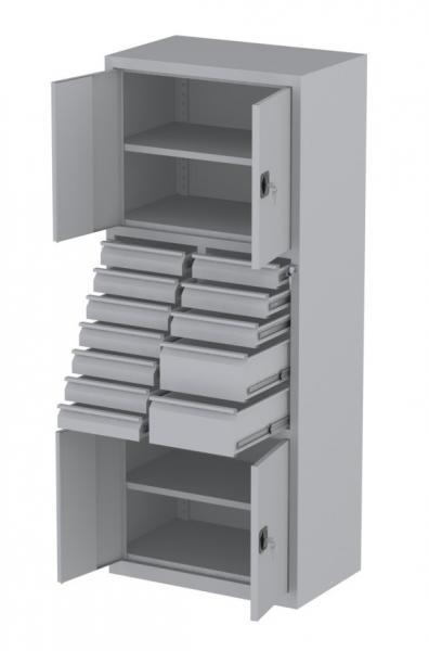 Werkstattschrank - 4 Fächer und 2 + 10 Schubladen - 1950x1000x500 mm (HxBxT)