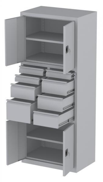 Werkstattschrank - 4 Fächer und 4 + 3 + 1 Schubladen - 1950x1000x500 mm (HxBxT)