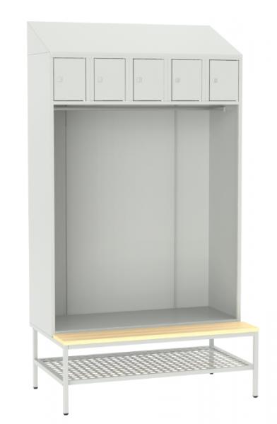 offene Garderobe mit Sitzbank - 5 Fächer - 2190x1175x490/745 mm (HxBxT)