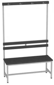 Sitzbank mit Kunststofflatten mit Lehne - 1615x1000x375 (HxBxT)