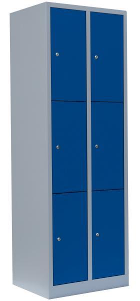 Schließfachschrank - 2 Abteile - 6 Fächer - 1800x600x500 mm (HxBxT)