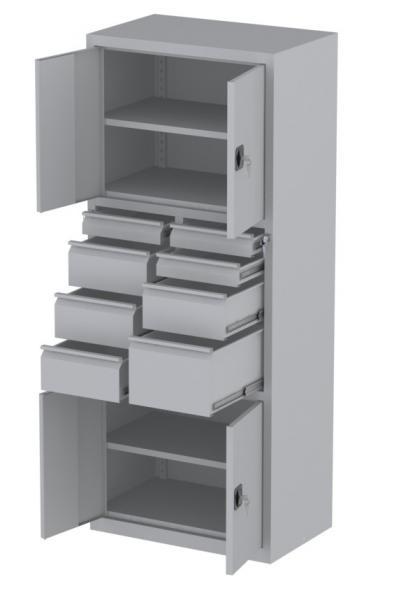 Werkstattschrank - 4 Fächer und 1 + 4 + 3 Schubladen - 1950x1000x500 mm (HxBxT)