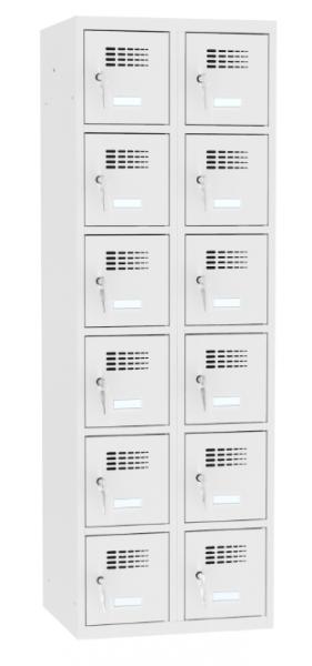 Schließfachschrank - 2 Abteile - 12 Fächer - 1800x800x500 mm (HxBxT