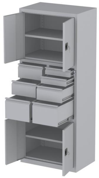 Werkstattschrank - 4 Fächer und 2 + 3 + 2 Schubladen - 1950x1000x500 mm (HxBxT)