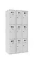 Schließfachschrank - 3 Abteile - 9 Fächer - 1800x1200x500 mm (HxBxT)