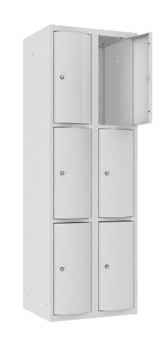 Schließfachschrank - 2 Abteile - 6 Fächer - mit abgerundeter Tür - 1800x600x500 mm (HxBxT)