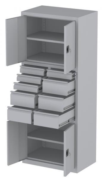 Werkstattschrank - 4 Fächer und 5 + 4 Schubladen - 1950x1000x500 mm (HxBxT)