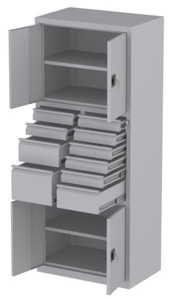 Werkstattschrank - 4 Fächer und 2 + 7 + 1 Schubladen - 1950x1000x500 mm (HxBxT)